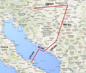 Frančkova selitvena pot med 8. 8. in 30. 9. 2014. Trenutno se nahaja v Italiji.