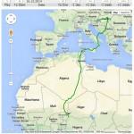 Franček, prva slovenska črna štorklja z GPS oddajnikom,  je v približno 20 dneh opravil okrog 2.500 km dolgo pot prek Sahare. Foto: Migration map