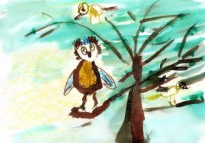 Naziv zavoda: Vrtec Jožice Flander, enota Sapramiška <br/>Mentorica: Jožica Libman <br/>Avtorica: Ana Sofia Jakopin <br/>Naslov dela: Sova na drevesu <br/>Letnik: 2011