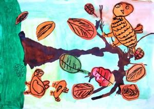 Naziv zavoda: Vrtec Otona Zupančiča, enota Lenka <br/>Mentorica: Mateja Pušnik <br/>Avtorica: Lana Onič <br/>Naslov dela: V jeseni ptičke priletijo <br/>Letnik: 2011