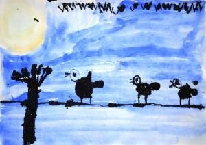 Naziv zavoda: Vrtec Jožice Flander, enota Žvrgolišče <br/>Mentorica: Ida Valand in Jasmina Ahmetović <br/>Avtor: Svit Lovrenčič <br/>Naslov dela: Ptice ponoči <br/>Letnik: 2011
