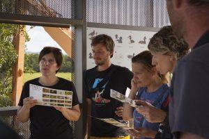 Obiskovalci med opazovanjem ptic. Foto: Eva Horvat