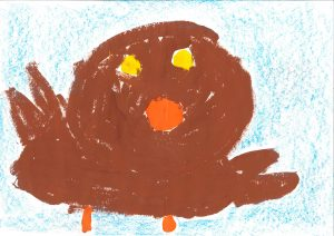 Slikanje vrabčka, Ema Kline, vrtec Rače