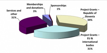 The organisation's income breakdown for 2013