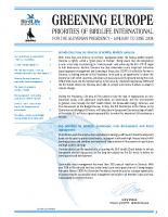 2008, Greening Europe: Priorities of BirdLife Int. for Slovenian presidency