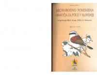 2000, Mednarodno pomembna območja za ptice v Sloveniji, 1. del
