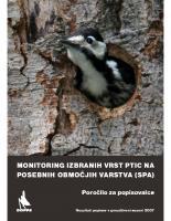 2007, Monitoring izbranih vrst ptic na SPA