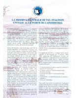 2002, La Riserva Naturale di Val Stagnon : Un'Oasi alle Porte di Capodistria