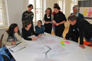 Udeleženci so v majhnih skupinah razvijali ideje o promociji Evropske zelene vezi in sodelovanju med organizacijami.
