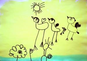 Naziv zavoda: Vrtec Borisa Pečeta, enota Tomšičeva<br/>Mentorica: Mojca Lukančič <br/>Avtorica: Melanie Marčič <br/>Naslov dela: Ptice v naravi <br/>Letnik: 2012